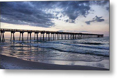 Pier In The Evening Metal Print by Sandy Keeton
