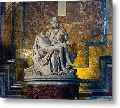 Pieta By Michelangelo Circa 1499 Ad Metal Print by Jon Berghoff