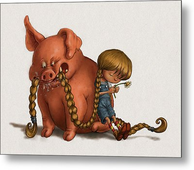 Pig Tales Chomp Metal Print by Andy Catling