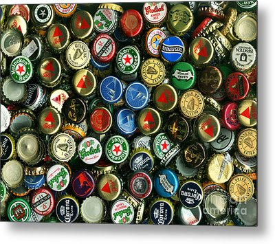 Pile Of Beer Bottle Caps . 9 To 12 Proportion Metal Print by Wingsdomain Art and Photography