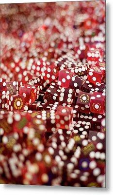 Pile Of Dice At A Casino, Las Vegas, Nevada Metal Print by Christian Thomas