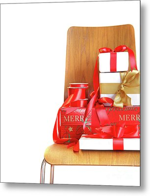 Pile Of Gifts On Wooden Chair Against White Metal Print by Sandra Cunningham