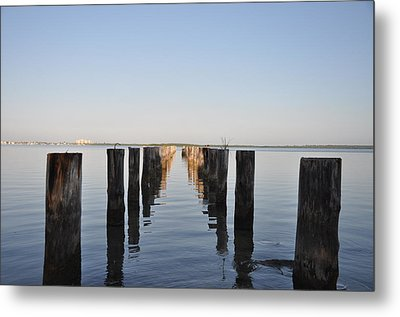 Pilings From An Old Pier Metal Print by Bill Cannon