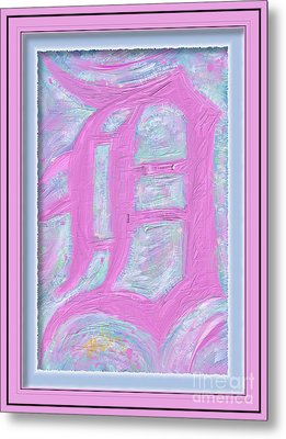 Pink Old English D Framed Metal Print by Donald Pavlica