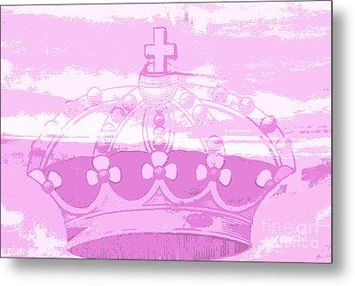 Pink Princess Crown Art Metal Print by ArtyZen Kids