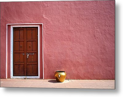 Pink Wall And The Door Metal Print by Saptak Ganguly