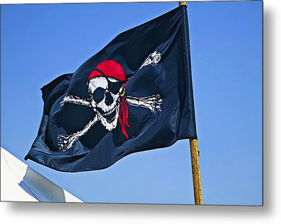 Pirate Flag Skull With Red Scarf Metal Print by Garry Gay