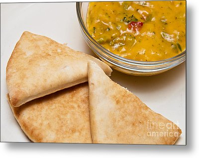 Pita Bread With Brocoli Cheese Dip Metal Print by Andee Design