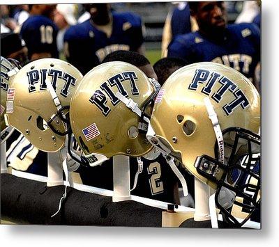Pitt Helmets Awaiting Action Metal Print by Will Babin