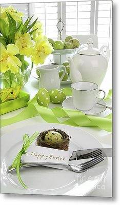 Place Setting With Card For Easter Brunch Metal Print by Sandra Cunningham