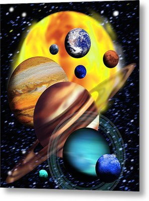Planets & Their Relative Sizes Metal Print by Victor Habbick Visions