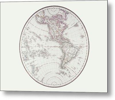 Planispheric Map Of The Western Hemisphere Metal Print by Fototeca Storica Nazionale