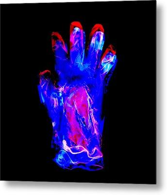 Plastic Glove, Negative Image Metal Print by Kevin Curtis