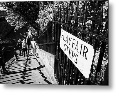 Playfair Steps Down Into Princes Street Gardens Edinburgh Scotland Uk United Kingdom Metal Print by Joe Fox