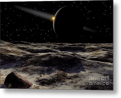 Pluto Seen From The Surface Metal Print by Ron Miller
