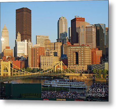Pnc Park And River Boat Metal Print by Steve Whalen
