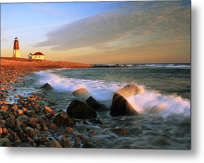Point Judith Lighthouse Seascape Metal Print by Roupen  Baker