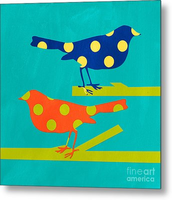 Polka Dot Birds Metal Print by Linda Woods