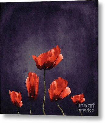 Poppies Fun 03b Metal Print by Variance Collections