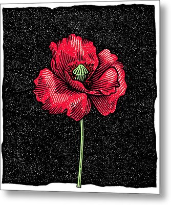 Poppy Flower, Woodcut Metal Print by Gary Hincks