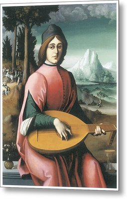 Portrait Of A Young Man With A Lute Metal Print by Bachiacca