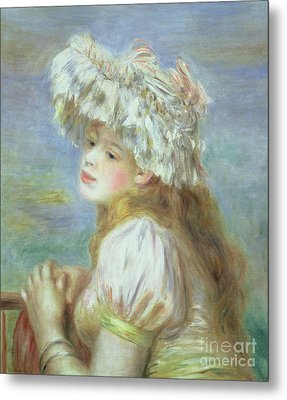 Portrait Of A Young Woman In A Lace Hat Metal Print by Pierre Auguste  Renoir
