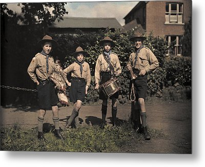Portrait Of Boy Scouts At Abinger Metal Print by Clifton R. Adams