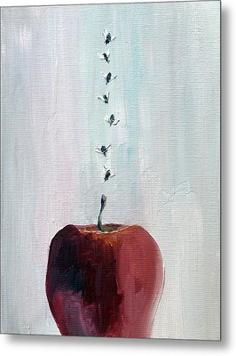 Portrait Of Seven Flies Flying Over An Apple Metal Print by Fabrizio Cassetta