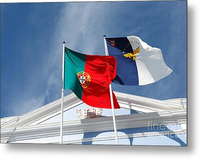 Portugal And Azores Flags Metal Print by Gaspar Avila