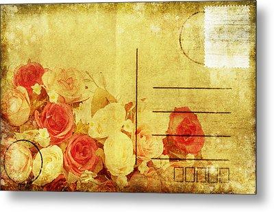 Postcard With Floral Pattern Metal Print by Setsiri Silapasuwanchai