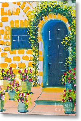 Poster Color Drawing Door And Flowers Metal Print by Mongkol Chakritthakool