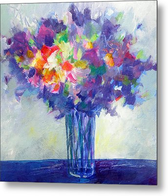 Posy In Lavender And Blue - Painting Of Flowers Metal Print by Susanne Clark