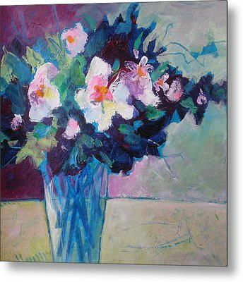 Posy In Magenta And Blue Metal Print by Susanne Clark