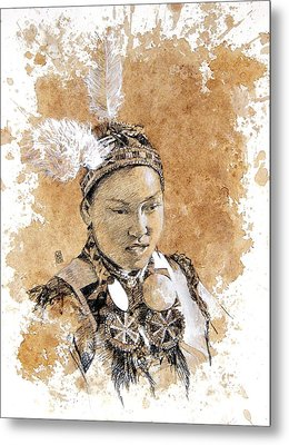 Pow Wow Girl Metal Print by Debra Jones