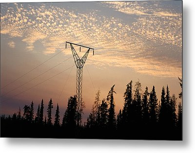 Power Tower And Sunset, Wood Buffalo Metal Print by Raymond Gehman