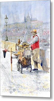 Prague Charles Bridge Organ Grinder-seller Happiness  Metal Print by Yuriy  Shevchuk