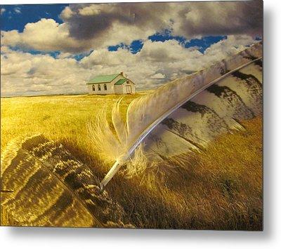 Prairie Feathers Metal Print by Lori  Secouler-Beaudry