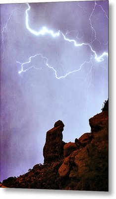 Praying Monk Camelback Mountain Paradise Valley Lightning  Storm Metal Print by James BO  Insogna