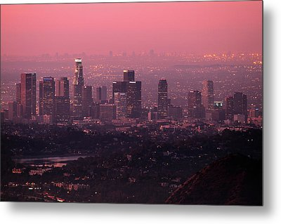Predawn Light On Downtown Los Angeles. Metal Print by Eric A Norris