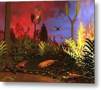 Prehistoric Forest Fire, Artwork Metal Print by Walter Myers