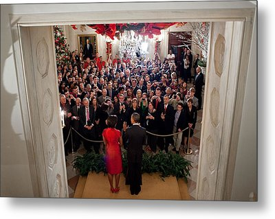 President And Michelle Obama Address Metal Print by Everett