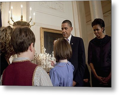 President And Michelle Obama Watch Metal Print by Everett