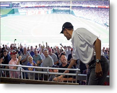 President Barack Obama Greets Baseball Metal Print by Everett