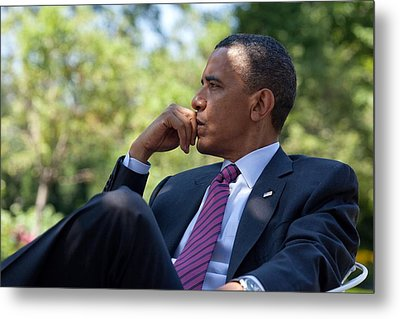 President Barack Obama Is Briefed Metal Print by Everett