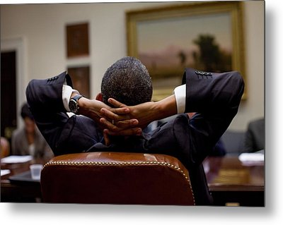 President Barack Obama Leans Back Metal Print by Everett