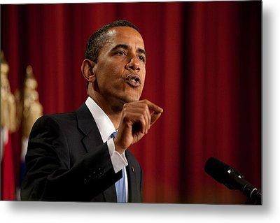 President Barack Obama Making Metal Print by Everett