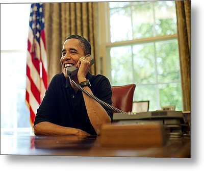 President Barack Obama Talks By Phone Metal Print by Everett