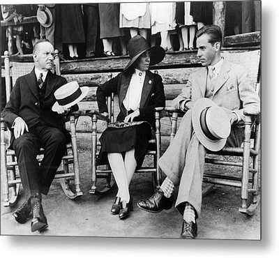 President Calvin Coolidge, First Lady Metal Print by Everett