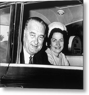 President Lyndon B. Johnson And First Metal Print by Everett