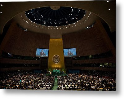President Obama Addresses The Un Metal Print by Everett